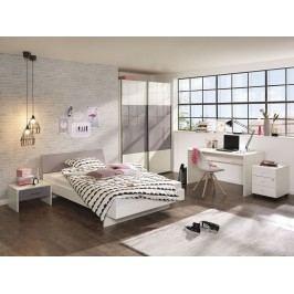 Jugendzimmer Komplett Alpinweiss/ Lilac Grey Hochglanz Lackiert Welle Jugendwunder Grau Holz Modern