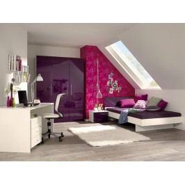 Jugendzimmer Mit Kleiderschrank Bett Und Schreibtisch Alpinweiss/ Lila Hochglanz Lackiert Welle Jugendwunder Holz Modern