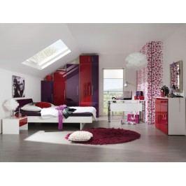 Jugendzimmer Alpinweiss/ Fronten Rubinrot Und Lila Hochglanz Lackiert Welle Jugendwunder Holz Modern