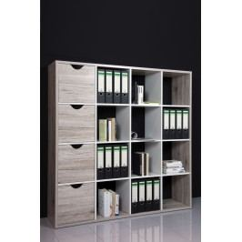 Regal / Raumteiler Sandeiche/ Weiss Bega Quadro 2 Holz Modern