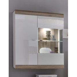 Hängevitrine Lack Melamin Weiss/San Remo Eiche Forestdream Loft Weiß Glas Modern