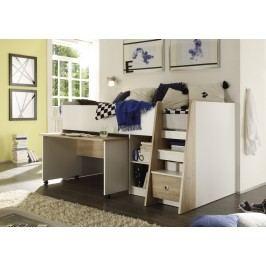 Hochbett 90 X 200 Cm Mit Schreibtisch Sonoma Eiche/ Weiss Polpower Pierre Holz Modern