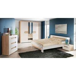 Schlafzimmer Mit Bett 180 X 200 Cm Weiss Hochglanz/ Eiche Sonoma Forte MÖbel Tiziano Weiß Holz Modern