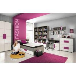 Jugendzimmer Mit Bett 90 X 200 Cm Weiss/ Violette/ Grau Forte MÖbel Libelle Weiß Holz Modern