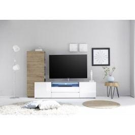 Tv Lowboard Mit Regal Weiss Hochglanz/ Eiche Natur Mca-Furniture Azneciv Weiß Holz Modern