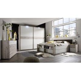 Schlafzimmer Mit Bett 180 X 200 Cm Sandeiche/ Weiss Polpower Julia Holz Modern
