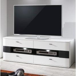 Tv-Unterteil Weiss Hochglanz Tiefgezogen/ Schwarz Ideal Möbel Dallas Modern