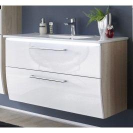 Waschbeckenunterschrank Sonoma/ Weiss Mit Becken Bega Imaim Weiß Holz Modern