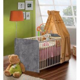 Babybett Betonoptik Lichtgrau/ Weiss Forte MÖbel Winnie Beton / Weiß Holz