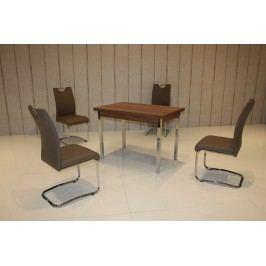 Tischgruppe Wanuss/ Cappuccino Top Form 5 Aral Walnuss Holz