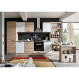 Küchenzeile Küchenblock Mit Esstisch Und Weinregal Sonoma Eiche/ Weiss Bega Sit Holz Modern