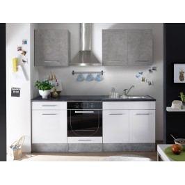 Küchenzeile Küchenblock Weiss Matt/ Mix Beton Bega Stone Mini Grau Holz Modern