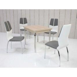 Tischgruppe Eiche Sonoma/ Grau-Weiss Top Form 5 Alrac Eiche Sonoma Sägerau Holz