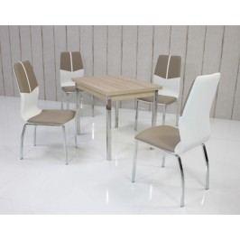 Tischgruppe Eiche Sonoma/ Cappuccino-Weiss Top Form 8 Alrac Eiche Sonoma Sägerau Holz