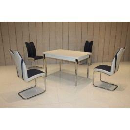 Tischgruppe Perlweiss/ Blau-Weiss Top Form 2 Latnahc Weiß Holz