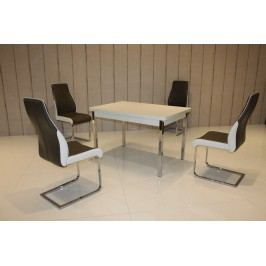 Tischgruppe Perlweiss/ Sepia-Brau Top Form 2 Ailec Weiß Holz