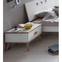 Nachtkommode Mit Schubkasten Alpinweiss/ Eiche Sägerau Wimex Billund Weiß Holz Modern