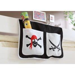 Bett-Tasche Für Hoch- Und Etagenbetten ´´pirat Schwarz-Weiß´´ Mvh-Ticaa Baumwolle Modern