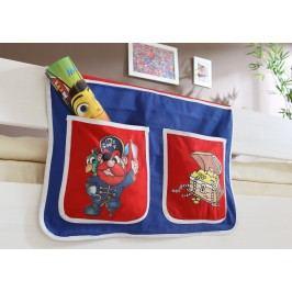 Bett-Tasche Für Hoch- Und Etagenbetten ´´pirat Blau-Rot´´ Mvh-Ticaa Baumwolle Modern
