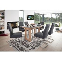 Esstischgruppe Mit Tisch 130 X 90 Eiche Bianco/ Glas Grau Und 6 Freischwinger Anthrazit Standard Furniture Komforto Glas / Gina Holz Modern