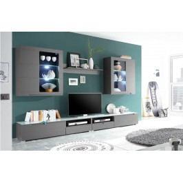 Wohnwand Grau Matt Mit Led Beleuchtung Hbz-Meble Regit Holz Modern
