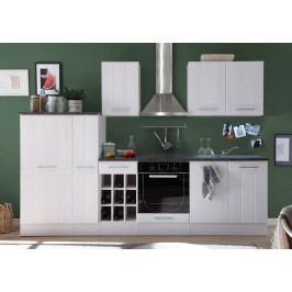 Küchenzeile Küchenblock Sibiu Lärche Weiss/ Stone Dark Bega Landhaus 1 Weiß Holz Modern