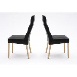 2er Set Stuhl Kunsleder Schwarz/ Buche Natur Mca-Furniture Adirf Kunstleder Neutral