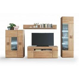 Wohnwand Eiche Bianco Mca-Furniture Angolob Massivholz / Holzwerkstoffe Modern