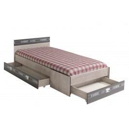 Bett 90 X 200 Cm Esche/ Grau Mit Aufschrift Parisot Fabric Modern