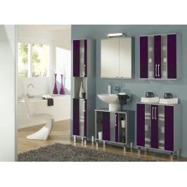 Badezimmer Brombeer Glanz/ Glas/ Alufarben Mit Beleuchtung Kesper Rimini Lila Modern