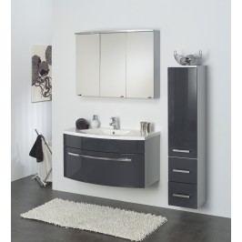 Badezimmer Anthrazit Hochglanz/ Alufarben Mit Beleuchtung Kesper Verona Mdf Modern