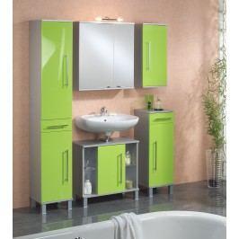 Badezimmer Grün Hochglanz/ Alufarben Mit Beleuchtung Kesper Elba Mdf Modern