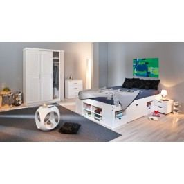 Schlafzimmer Mit Bett 180 X 200 Cm Kiefer Massiv Weiss Lackiert Inter Link Magnus / Nono / Till / New York Weiß Holz Modern