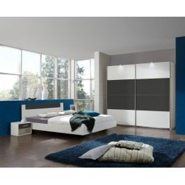 Schlafzimmer Mit Bett 160 X 200 Cm Alpinweiss/ Anthrazit Wimex Ilona Holz Modern