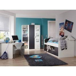 Jugendzimmer Mit Bett 90 X 200 Cm Alpinweiss/ Anthrazit Wimex Rocco Modern