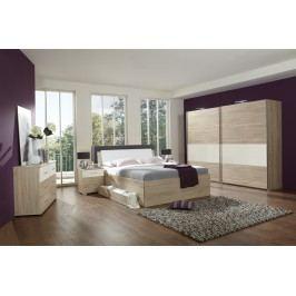 Schlafzimmer Mit Bett 180 X 200 Cm Eiche Sägerau/ Weiss Wimex Sunday Modern
