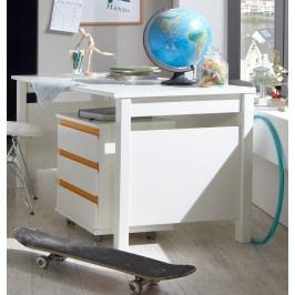Schreibtisch Mit Rollcontainer Alpinweiss/ Orange Wimex Bibi Holz Modern