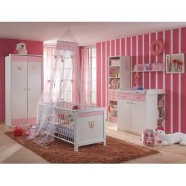 Babyzimmer Mit Bett 70 X 140 Cm Alpinweiss/ Rosa Wimex Cinderella Holz Modern