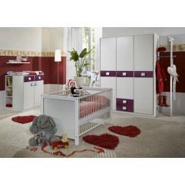 Babyzimmer Mit Bett 70 X 140 Cm Alpinweiss/ Brombeer Wimex Jette Weiß Holz Modern