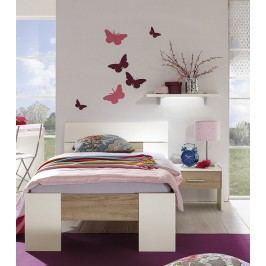 Bett 90 X 200 Cm Mit Nako Und Wandboard Weiss/ Dakota Eiche Röhr Vegas Plus Holz Modern