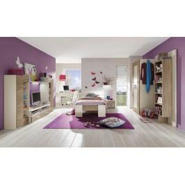 Jugendzimmer Mit Bett 90 X 200 Cm Weiss/ Dakota Eiche Röhr Vegas Plus Modern