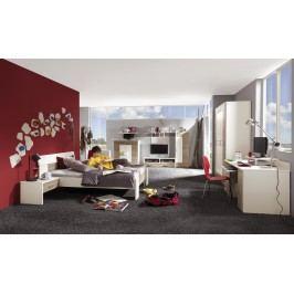 Jugendzimmer Mit Bett 140 X 200 Cm Weiss/ Dakota Eiche Röhr Vegas Plus Modern