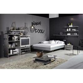 Jugendzimmer Mit Bett 140 X 200 Cm Industrial-Print-Optik/ Graphit Rauch Select Workbase Grau Holz Modern