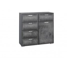 Kommode Industrial-Print-Optik/ Graphit Rauch Select Workbase Grau Holz Modern