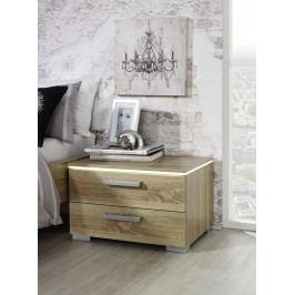 Nachttisch Eiche Sonoma/ Alu Rauch Steffen Calero Sonoma-Eiche Holz Modern