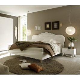 Bett 180 X 200 Cm Weiss Echt Hochglanz/ Gepolstert Mit Verzierung Classico Musa / Dea Weiß Polyurethan Modern