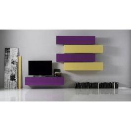 Wohnwand Lila/ Gelb Echt Hochglanz Lackiert Classico Box Holz Modern