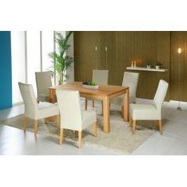 Essgruppe Mit Tisch 140 X 90 Cm Kernbuche Massiv Lackiert / 6 Stühle Kunstleder Beige Standard Furniture Toby Holz Modern