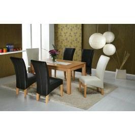 Essgruppe Mit Tisch 140 X 90 Cm Kernbuche Massiv Lackiert / 6 Stühle Kunstleder Standard Furniture Toby Beige Modern