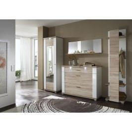 Garderobe Eiche Sägerau Geschroppt / Weiss Hochglanz Ideal Möbel Manhattan Melamin Modern